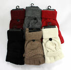 Fashion Women Ladies Kintted Gloves Fingerless with Flip Top Cover Winter Warm
