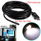 USB Waterproof Endoscope Borescope Tube Inspection Camera 2/5/7/10M 7mm Lens Cam