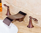 3PCS Brass Oil Rubbed Bronze Basin Faucet Deck Mount Waterfall Spout Dual Knobs