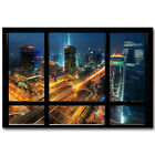 New York City Night Window View Silk Poster 12x18 24x36 inch 003