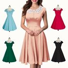 New Women Ladies Cotton Round Neck Lace Doll Collar Short Dresses Evening Party