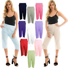LADIES WOMENS ELASTICATED WAIST THREE QUARTER 3/4 CAPRI CROPPED PANTS TROUSERS