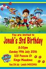 Paw Patrol Design Personalised Birthday Party Invitations
