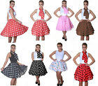 WOMENS LADIES ROCK AND ROLL SKIRT & SCARF POLKA DOT FANCY DRESS HEN PARTY OUTFIT