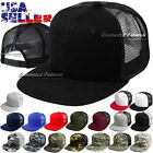 Baseball Cap Trucker Adjustable Snapback Flat Hip Hop Hat Plain Mesh Solid Men's