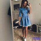 Lady Hot Ruffles Long-sleeve Denim Dress Slim Corset Short Jeans Cowboy Dresses