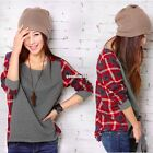 New Women Ladies Plaid Checked Long Sleeve Casual Loose T shirt Tops Blouse EA9