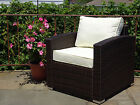 Patio Resin Outdoor Wicker Living Arm Chair with Cushion