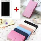 Silk Wallet Flip Stand Case Cover +Glass Screen Protector for Samsung Galaxy On5