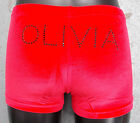 New Personalised RED Velour Gymnastic shorts with NAME in Rhinestones ALL SIZES