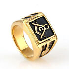Masonic Ring 18K Golden Plated Men's 316L Stainless Steel Lodge Free Shipping !!