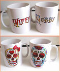"Printed Candy Skull Mugs With ""HUBBY/WIFEY, WIFEY/WIFEY, OR HUBBY/HUBBY"""