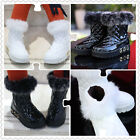 1310 Boutique Quilted Patent Leather Winter Boots Fur Trim Fleece Inner