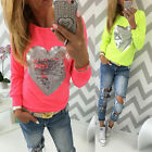 Fashion Women Casual Heart Love Round Neck Long Sleeve Top T-shirt Blouse New