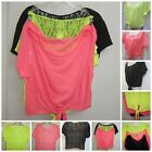 NWT VICTORIA'S SECRET CROP TOPS/BLOUSE LACE BACK SIZE{M-S} YELLOW-ORANGE-BLACK