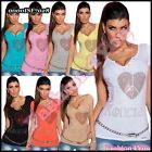 Ladies Summer Tank Top Sexy Women's Fitted Casual T-Shirt One Size 8,10,12 UK