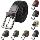 Men's Braided Elastic Fabric Stretchy Alloy Buckle Straps Webbing Belt Waistband
