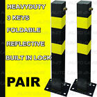 2 Black Folding Bolt Down Reflective Private Parking Bollard Post. Built-in Lock