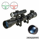 3 9x40 Tactical Rifle Scope Crosshair/ Rangefinder w/ Red Laser Torchlight Combo