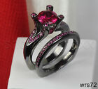 GOTHIC BLACK & PINK SAPPHIRE STERLING SILVER ENGAGEMENT RING W/ WEDDING BAND
