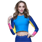 Womens CONTRAST COLOR Long Sleeve Wetsuit Shirt Floatsuit Surfing Wakeboard Top