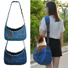 New Pet Dog Cat Sling Carrier Bag Jeans Denim Travel Tote Crossbody Shoulder Bag