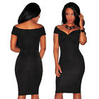 Sexy Off Shoulder Knot V Neck Slim Formal Party Evening Club Dance Bodycon Dress