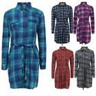 Ladies Check Belt Button Collar Longline Womens Tartan Print Shirt Dress Top