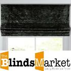 Made To Measure Luxury Black Crushed Velvet Roman Blind With Blackout Lining