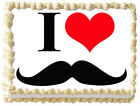 I LOVE MUSTACHE Red Heart Image Edible cake topper decoration