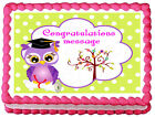 GIRLS OWL GRADUATION Edible image Cake topper decoration