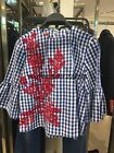 Women's Crew Neck Trumpet Sleeve Red Embroidery Loose Blue Check Top Blouse XS-L