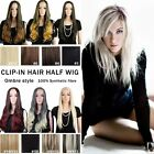 100 Thick Long Hair Ombre Half Wigs Real Heat Cosplay Party 3 4 Wig Brown Women