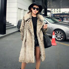 Fashion Womens Faux Fox Fur Long Parka Coats Lapel OverCoat Warm Thicken Outwear