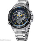 WEIDE Men's Quartz Military Amy Watches LCD Display Stainless Steel WristWatch