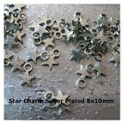 Star Charms Silver Plated 8x10mm  lots of 50pcs or 100pcs Jewelry Craft Charms