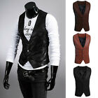 UOMO SEMPLICE SLIM FIT SIMIL PELLE GILET GIACCA CAPPOTTO OUTSTANDING