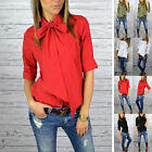 Women's Fashion Ladies Casual Collar Bow Tie Neck Slim Top Blouse Down Shirt New