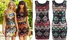 Womens Ladies Aztec Sequin Sexy Party Dress Mini Sleeveless Shift Shiny Festive