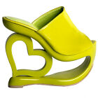 Retro Green Heart Heel Wedge Wedding Party Slip-ons Sandals Size UK Size 2.5-8