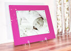 """Cheshire acrylic gloss 14X12"""" MAGNETIC desk PHOTO FRAME for a 10X8"""" all colours"""