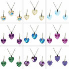 HEART CRYSTAL STERLING SILVER SET (VARIOUS COLOURS) made with SWAROVSKI ELEMENTS