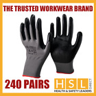240 PAIRS 100% PREMIUM NITRILE COATED SAFETY WORK GLOVES GARDENING BUILDERS