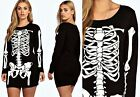 Plus Size Womens Ladies Skeleton Dress Skull Bones Print Halloween Mini Tunic