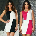 Cool Ladys Block Contrast Colour Cocktail Evening Party Ball Mini Clubwear Dress