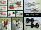 2 X (1 PAIR) HAIR GRIPS CLIPS STRAWBERRY PUPPIES ROSES CHOCOLATE CANDY BONBONS