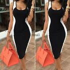 Women Casual Bodycon Sleeveless Dresses Evening Party Cocktail Pencil Dress LM