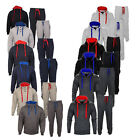 Mens Contrast Fleece Hooded Hoodie Top Bottoms Jogging Joggers Gym Tracksuit Set