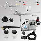 New OPHIR 110V/220V Air Compressor & 3x Airbrushing Kit Set for Temporary Tattoo