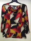 SALOOS BLACK RED AND GOLD PRINT TOP, 3/4 SLEEVE, COWL NECK,BNWT
